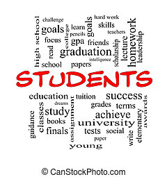Students Word Cloud Concept in red caps