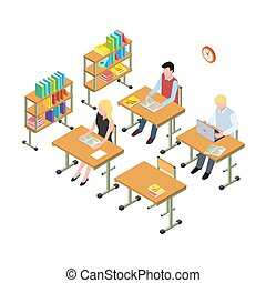 Students working in the library isometric vector concept