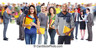 Students. - Young beautiful smiling students portrait. ...