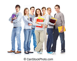 Students. - Young smiling students . Isolated over white...