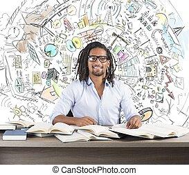 studera, affär, innovativ, idéer