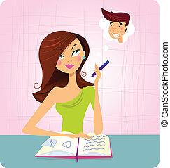 studera, flicka, dagdröm, medan