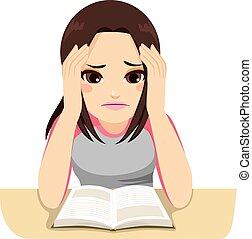 studera, flicka, stressa