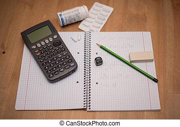 studera, plats, med, räknemaskin, och, smärtstillande medel,...