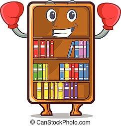 studeren, boxing, naast, boekenkast, bureau, mascotte