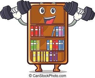 studeren, bureau, naast, boekenkast, fitness, mascotte