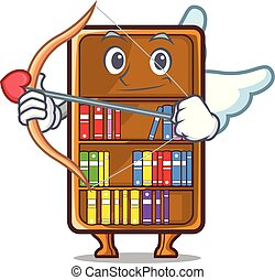 studeren, cupido, naast, boekenkast, bureau, mascotte
