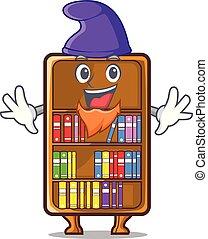 studeren, elf, naast, boekenkast, bureau, mascotte