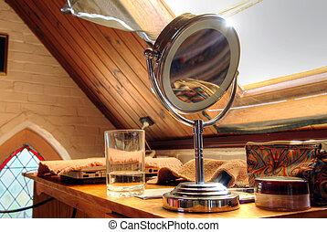 studeren, makeup spiegel