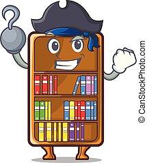 studeren, naast, boekenkast, bureau, zeerover, mascotte