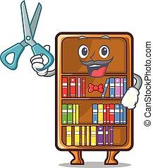 studeren, naast, boekenkast, kapper, bureau, mascotte