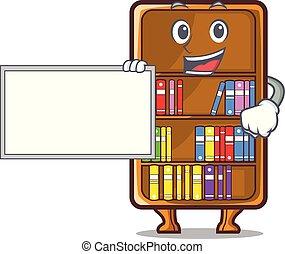 studeren, naast, boekenkast, plank, bureau, mascotte