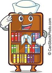 studeren, naast, zeeman, boekenkast, bureau, mascotte