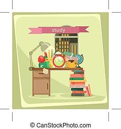 studeren, vector, illustratie