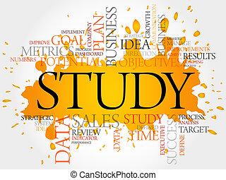 studeren, woord, wolk