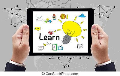 studerend , concept, opleiding, leren, leren