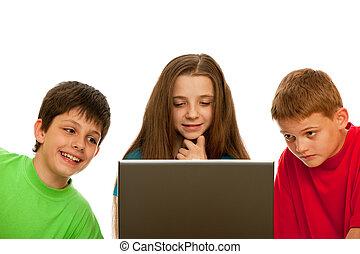 studerend , draagbare computer, kinderen, gebruik