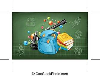 studerend , en, onderwijs, op, de, chalkboard, met, schetsen