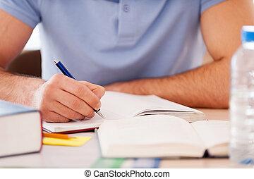 studerend , hard., bebouwd, beeld, van, student, schrijvende...