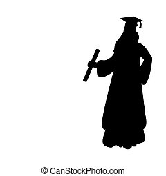 studerend , meisje, silhouette, afgewerkt, afgestudeerd