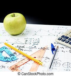 studerend , school, samenstelling, back, wiskunde