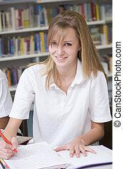 studerend , student, bibliotheek