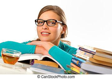studerend , tafel, student, vrouwlijk, verticaal