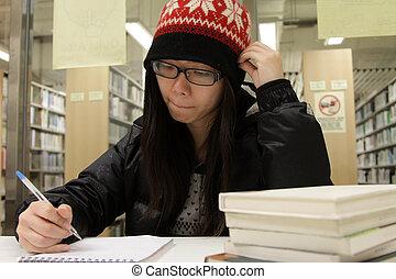 studerend , vrouw, aziaat, bibliotheek