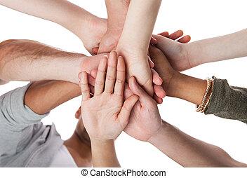 studerende, stakke, læreanstalt, unge, hænder