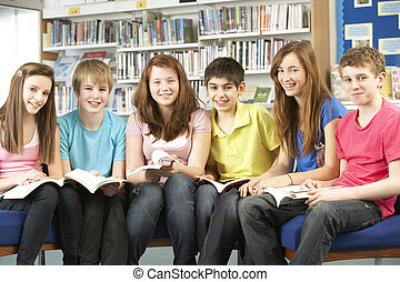 studerende, teenage, bøger, læsning, bibliotek
