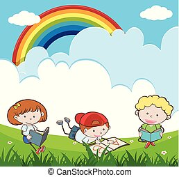 studiare, bambini, giardino, lettura