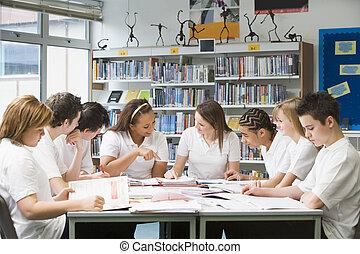 studiare, biblioteca scuola, schoolchildren