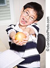 studiare, capretto, tenere mela