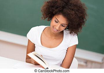 studiare, donna americana, giovane, africano
