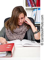 studiare, donna, giovane