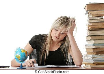 studiare, donna, scrivania, giovane