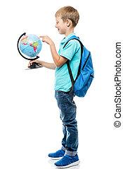 studiare, globo, studio, fondo, curioso, bianco, scolaro