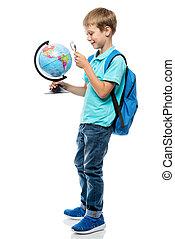 studiare, globo, studio, fondo, magnificatore, bianco, scolaro