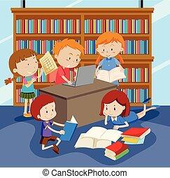 studiare, gruppo, bambini