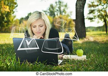 studiare, laptop, parco, studente ragazza