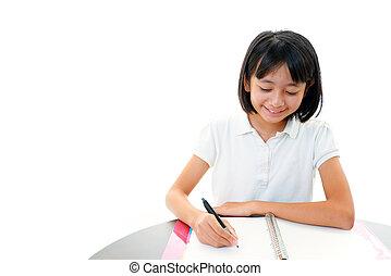 studiare, ragazza, asiatico, scrivania