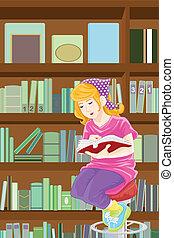 studiare, ragazza, biblioteca