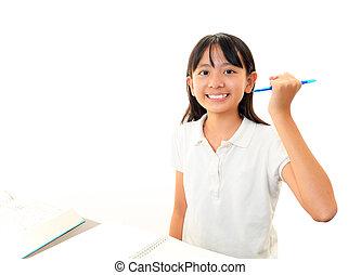 studiare, ragazza, felice, scrivania