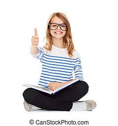 studiare, ragazza, libro, lettura, studente