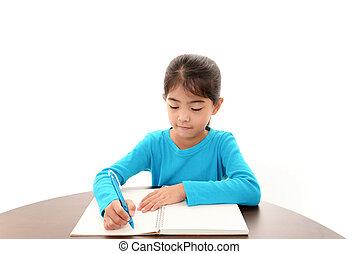studiare, ragazza, scrivania