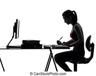 studiare, ragazza, silhouette, adolescente, compito
