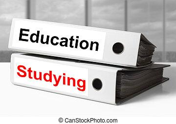 studiare, rilegatore, educazione, ufficio
