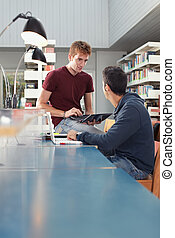 studiare, tipi, due, biblioteca