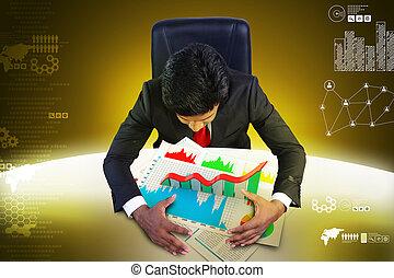 studiare, uomo, finanziario, affari, grafico