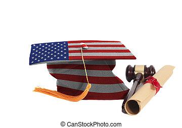 studienabschluss, hut, mit, usa markierung, mit, diplom, und, rechtsprechung, richterhammer